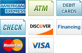 We accept American Express, ATM, Debit Cards, Checks, Discover, Financing, MasterCard and Visa.||||