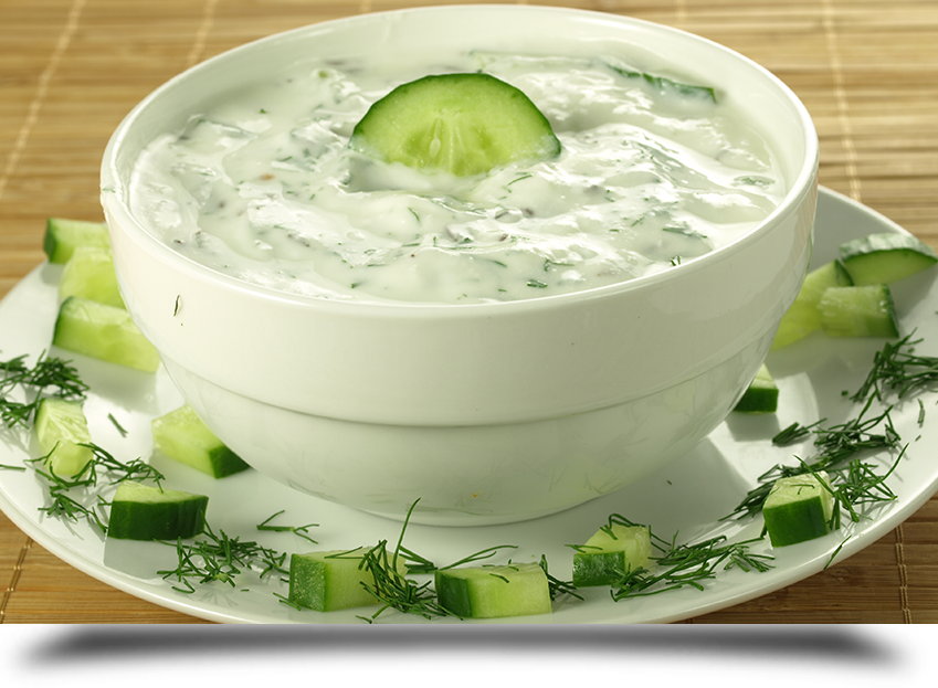 Yogurt with cucumber||||