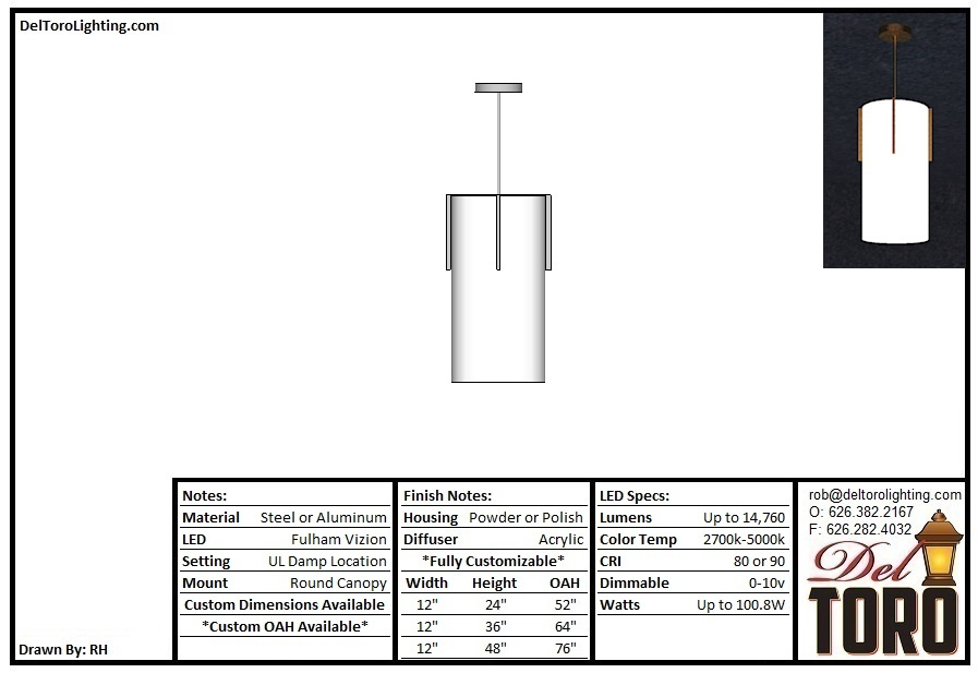 513P-Accent Bar Cylinder Pendant