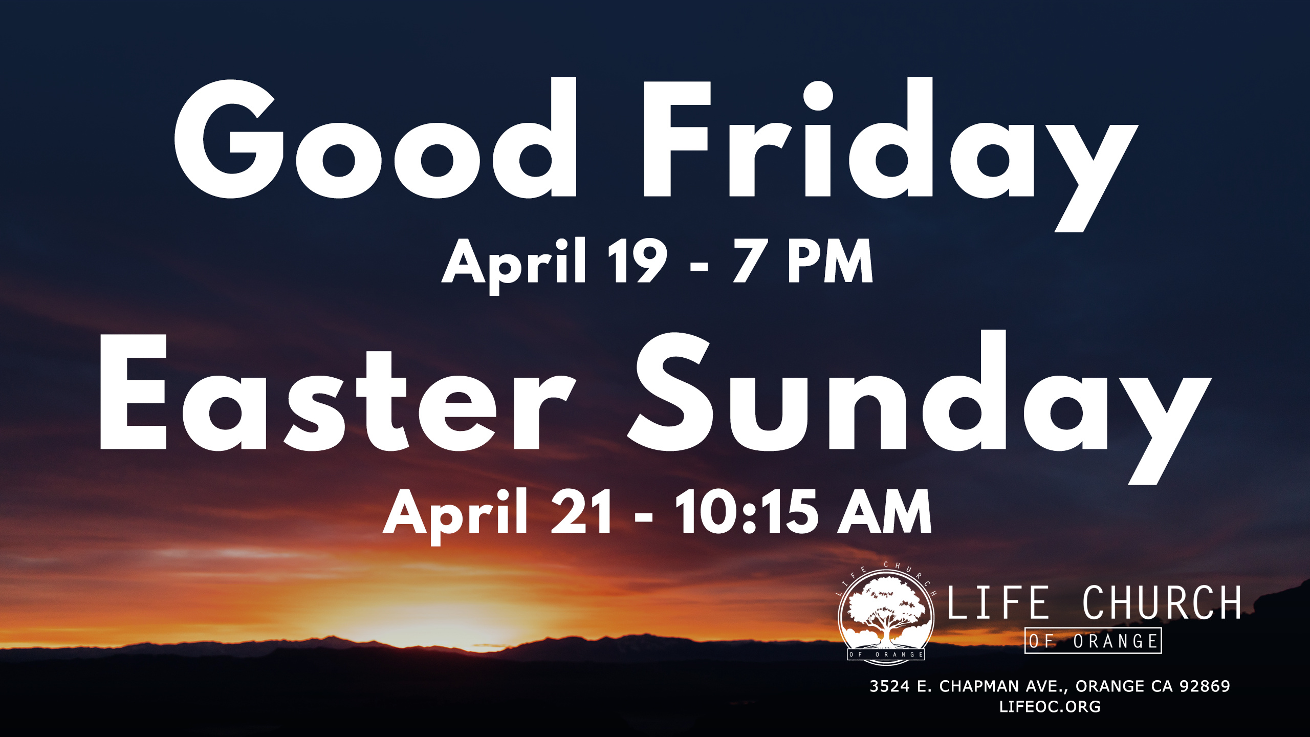 We invite you to celebrate the resurrection of Jesus Christ with us for both our Good Friday and Easter Sunday services.