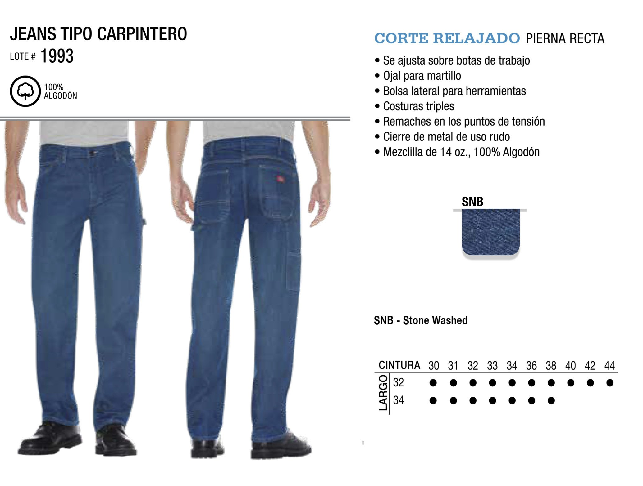 Jeans Tipo Carpintero. Corte Relajado. 1993.