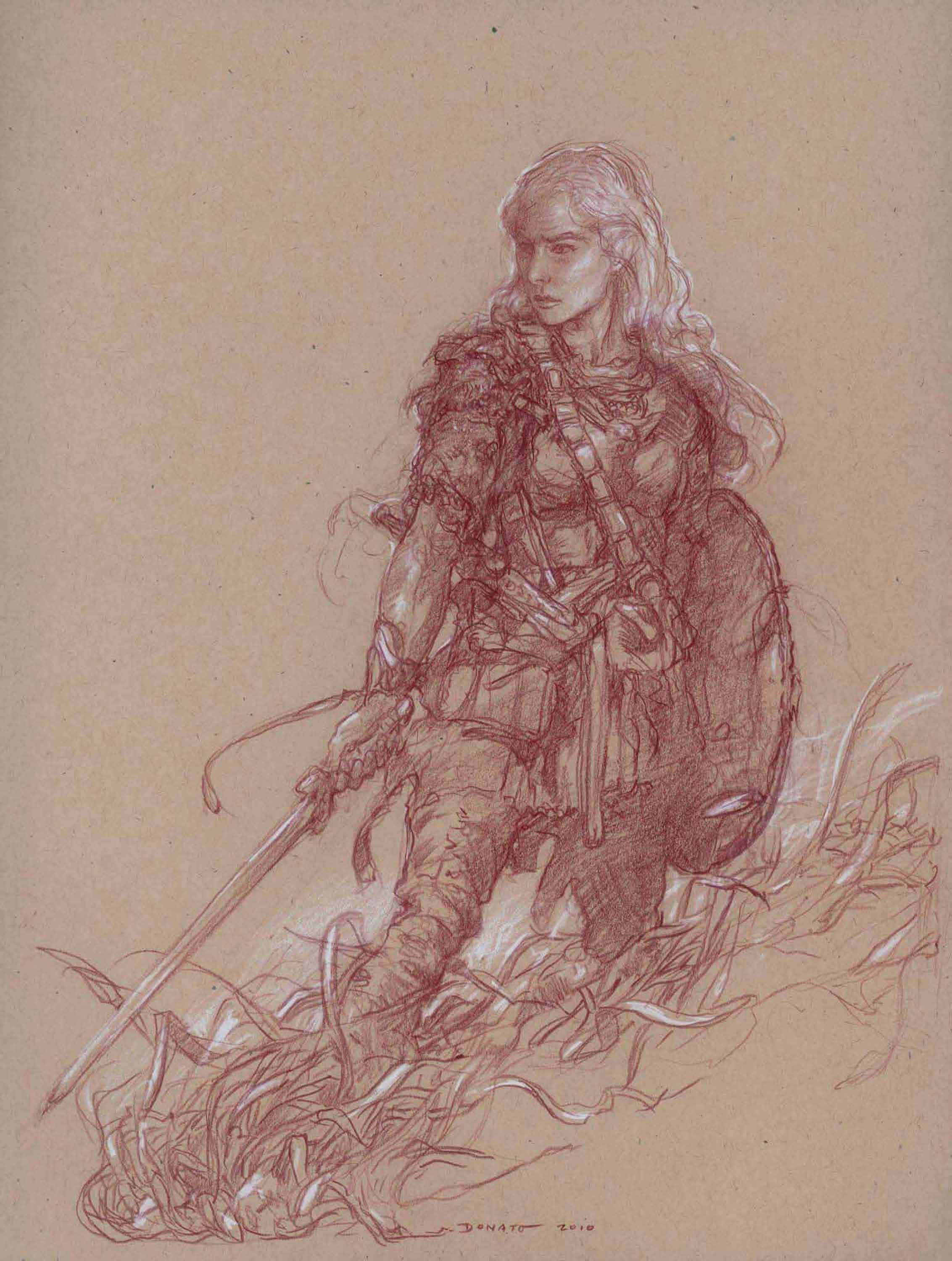 "Eowyn - Grasses of Rohan 14"" x 11""  Watercolor Pencil and Chalk on Toned paper 2010 private collection"