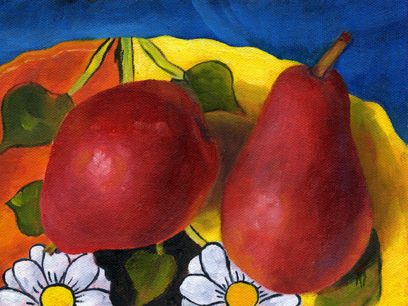 """Pears On Talavera Pottery ~ 6"""" x 8""""   Oil on Canvas SOLD"""
