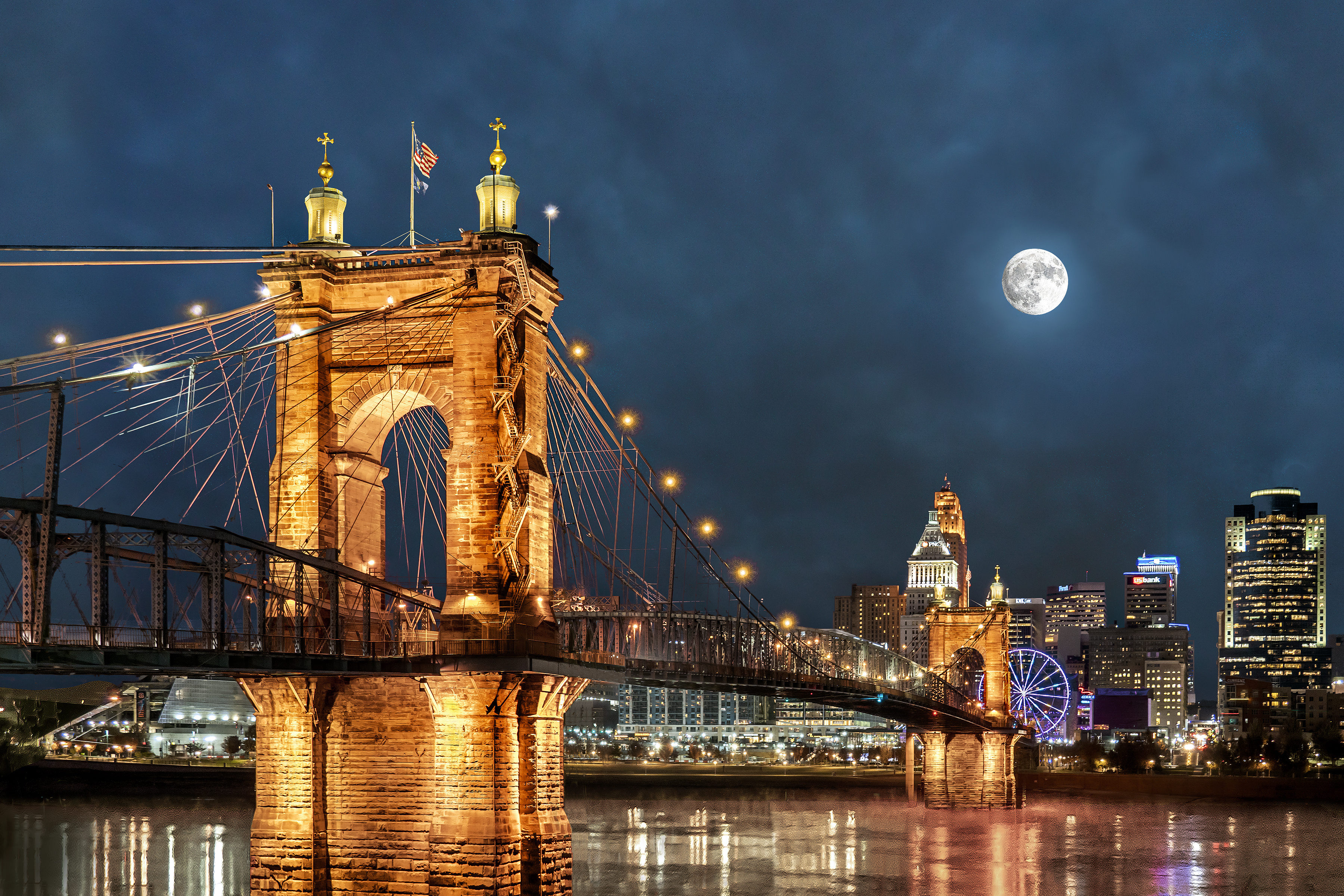 JOHN A. ROEBLING BRIDGE - When the first pedestrians crossed the bridge on December 1, 1866, it was the longest suspension bridge in the world. The first two days 166,000 people walked across the bridge. It formally opened on January 1 1867 with the toll for a horse and buggy of 15 cents. The pedestrian toll was one penny.