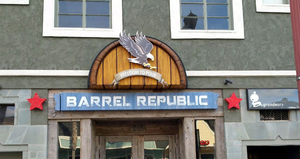 Faux Wood Barrel Sign