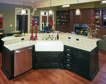 Dark wood cabinets and granite countertops||||