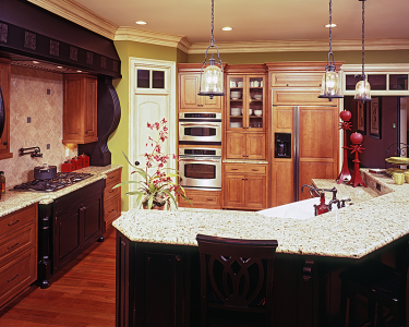 Cabinets and countertops in amber kitchen||||