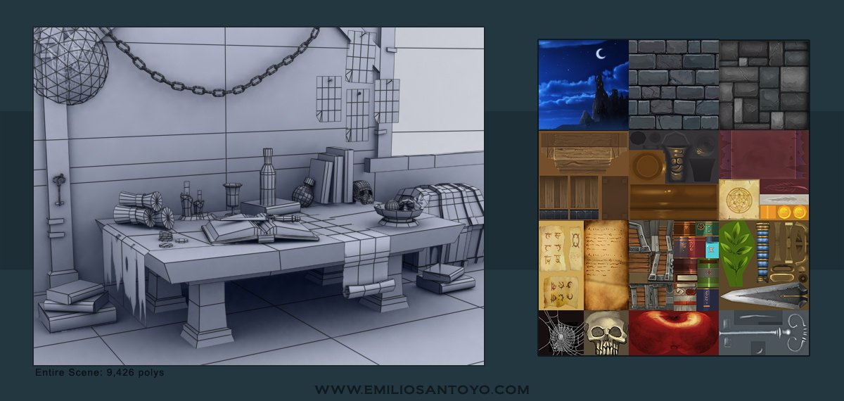 Hand Painted Scene. WireFrames and Texture Sheets.