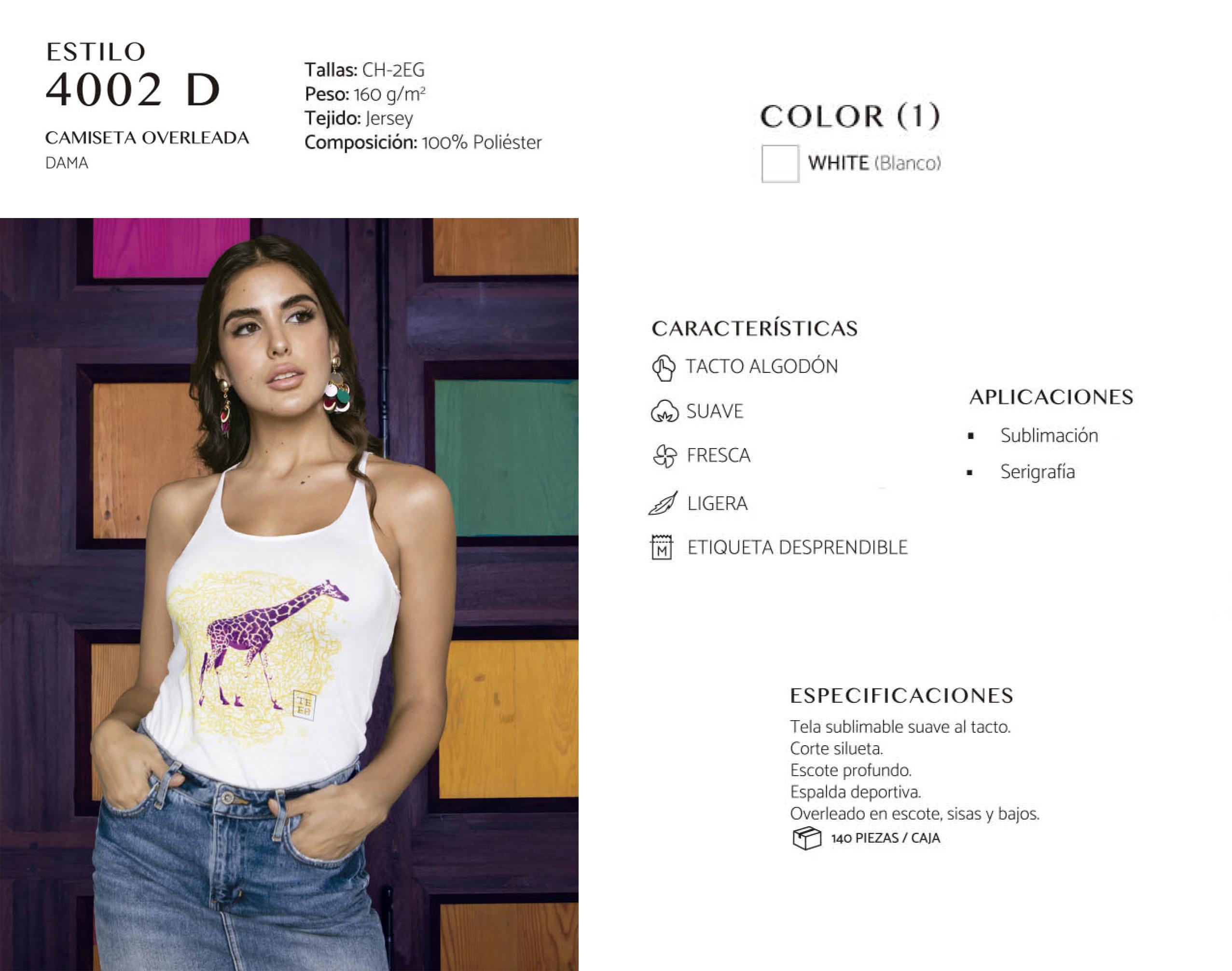Camiseta Overleada  Resaque dama 4002 D