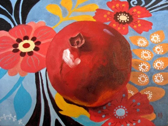 """Pomegranate II - 6""""x8"""" Oil on Canvas Panel  SOLD"""