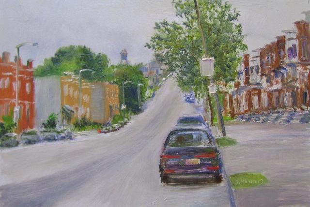 25. Edmondson Ave. Rowhouses, 6x9 oil on panel