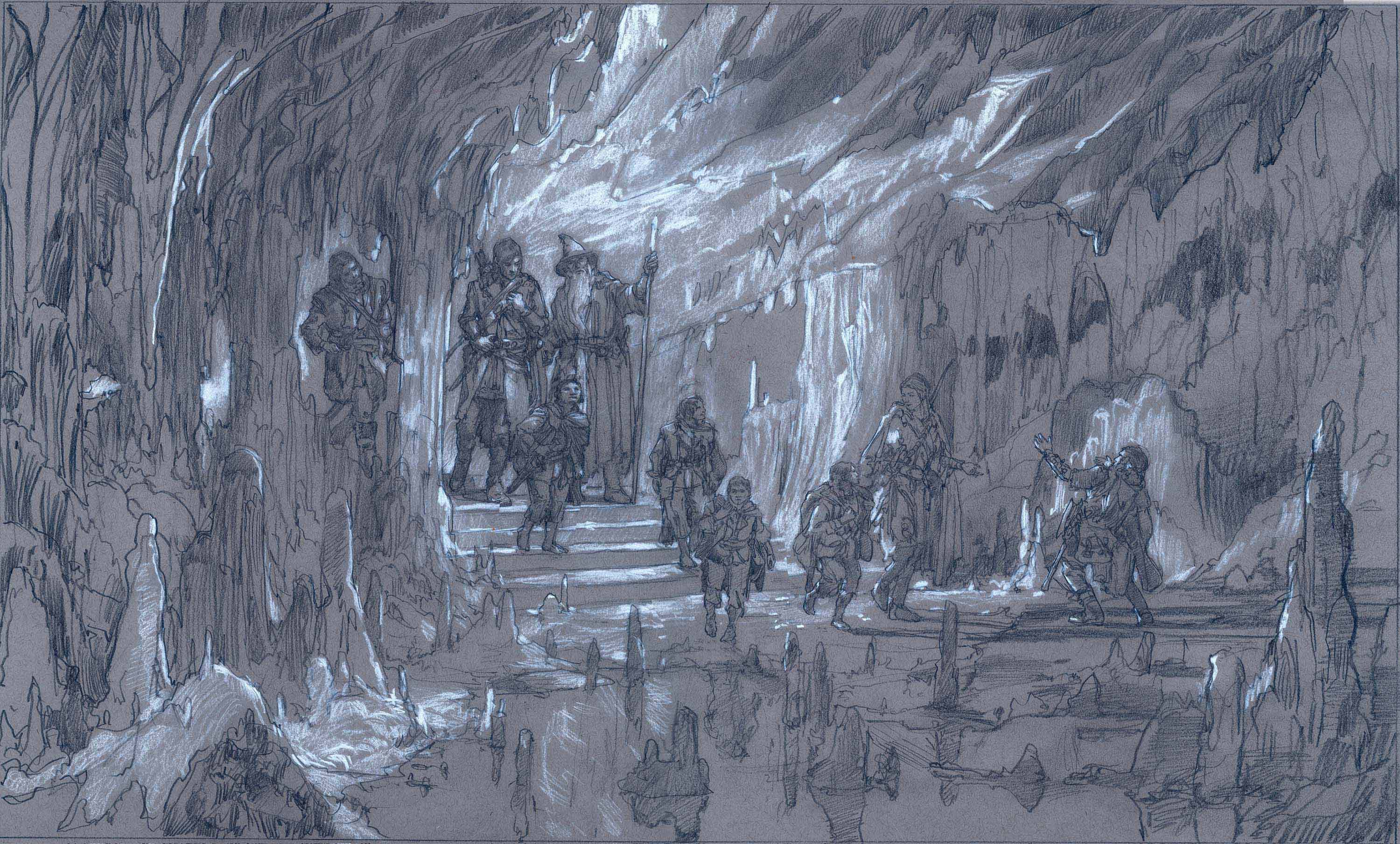 "The Fellowship of the Ring in Moria Preliminary Drawing  18"" x 24""  Graphite and Chalk on Toned Paper"