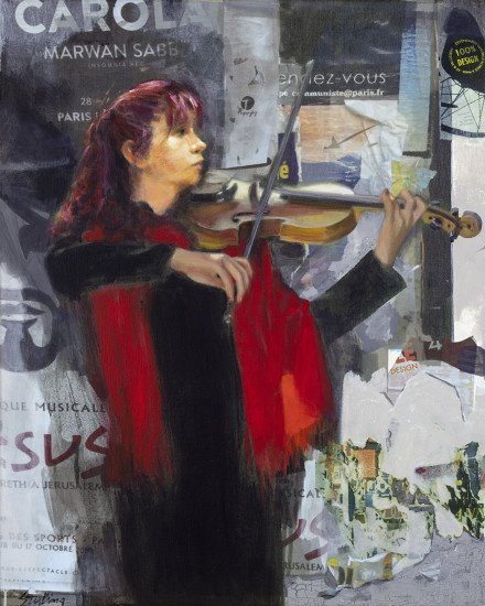 Street Musician in Red Scarf mixed media 24x30
