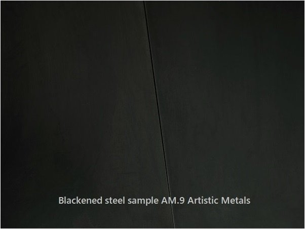 Blackened steel patina dark finish. Artistic Metals