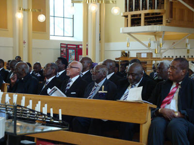 Old Boys listening to the Address by Revd Kenneth Davies
