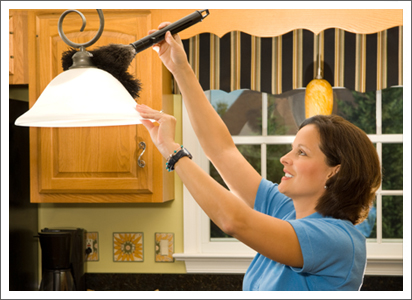 Woman cleaning the kitchen||||