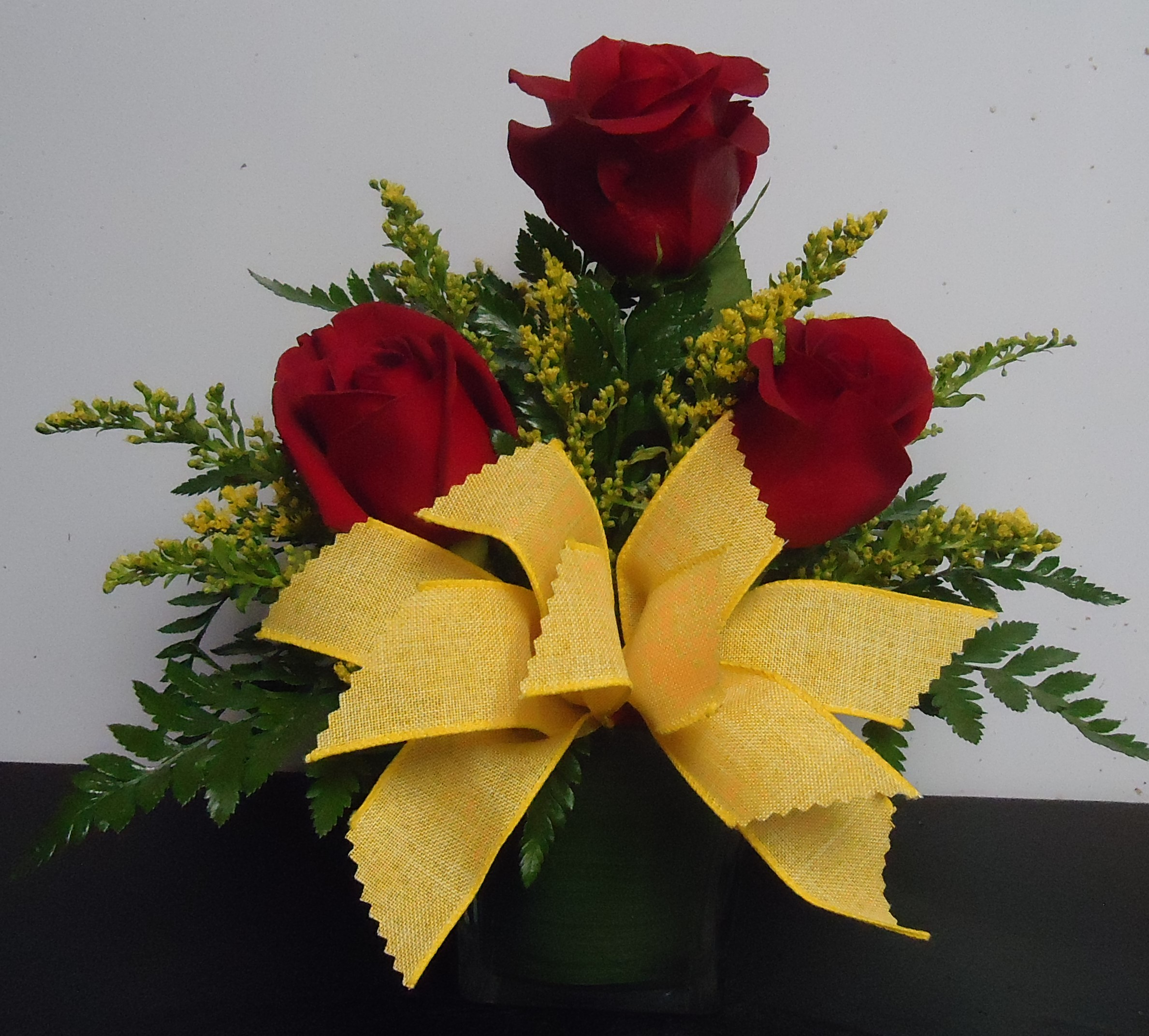(17) Cube Vase W/Three Roses $30.00