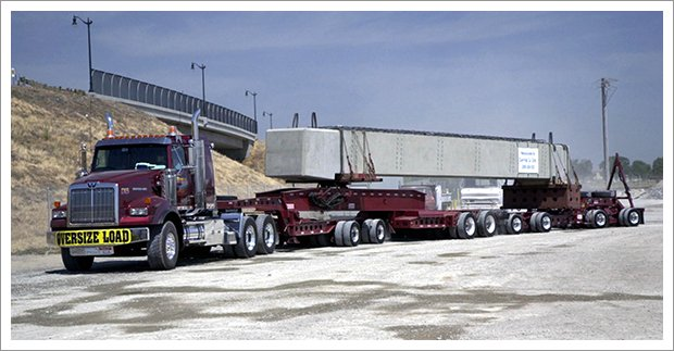 Truck carrying heavy load||||