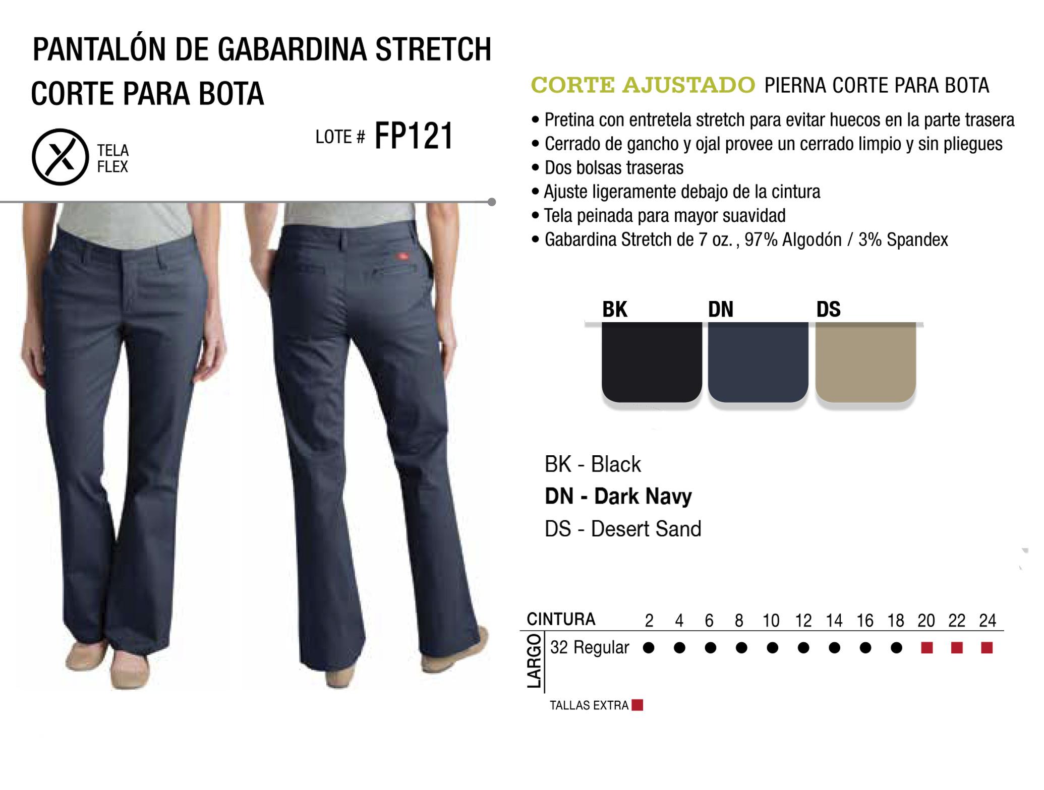 Pantalón de Gabardina Stretch. Corte Ajustado. FP121.