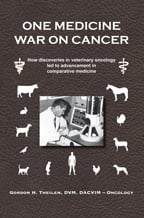 """One Medicine War on Cancer"" book cover, showing animal silhouettes and Gordon Theilen using an electron microscope"