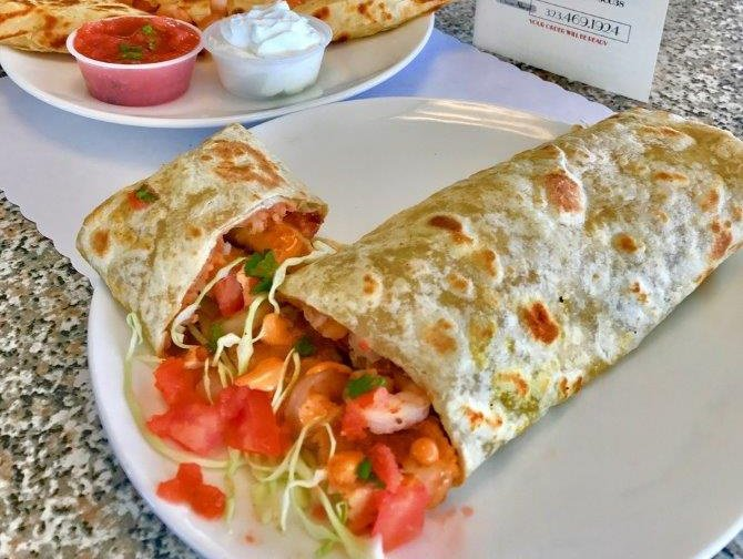 Fish burrito and shrimp quesadilla
