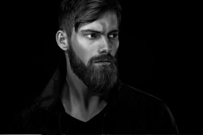Black and White Portrait of Bearded Handsome Man
