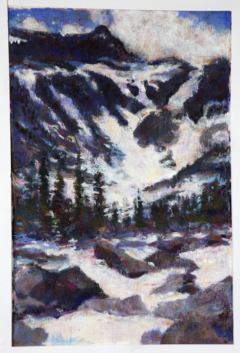 Mountain in Snow. Monotype. $350. Framed
