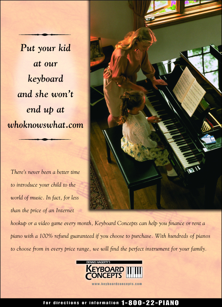 Magazine ad targeting parents for Keyboard Concepts