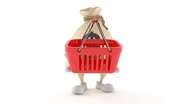 Dollar Money Bag Character Holding Empty Shopping Basket