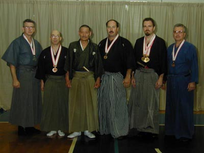 2nd Annual Orlando Taikai 2001. Orlando Group (l to r): Carl McClafferty, Guy Power, Ueki Seiji (hanshi, 8th dan), Ted Gonzalez, Mike Femal, Mark Allen (credit: Orlando Dojo).