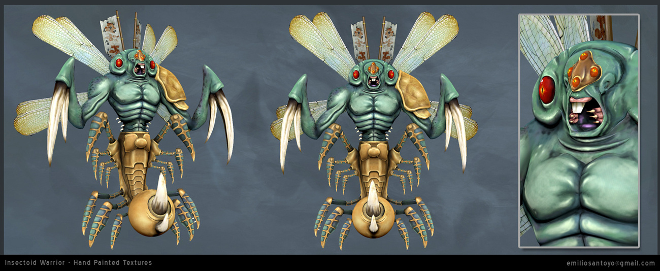 Insectoid Warrior. Software used 3ds Max, PhotoShop, and Zbrush.