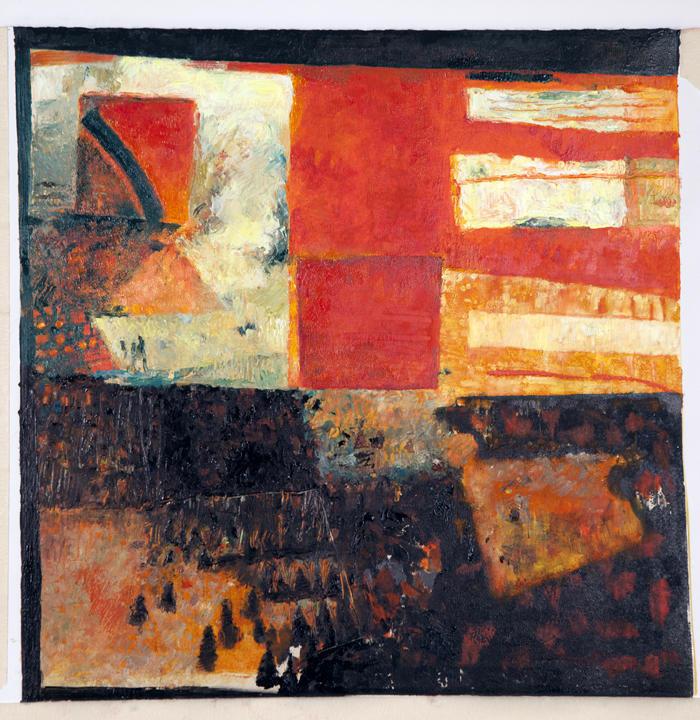 "Sunset in Taos,  Monotype oil on paper 18"" X 18"" $360 © Diane Crago 2012"