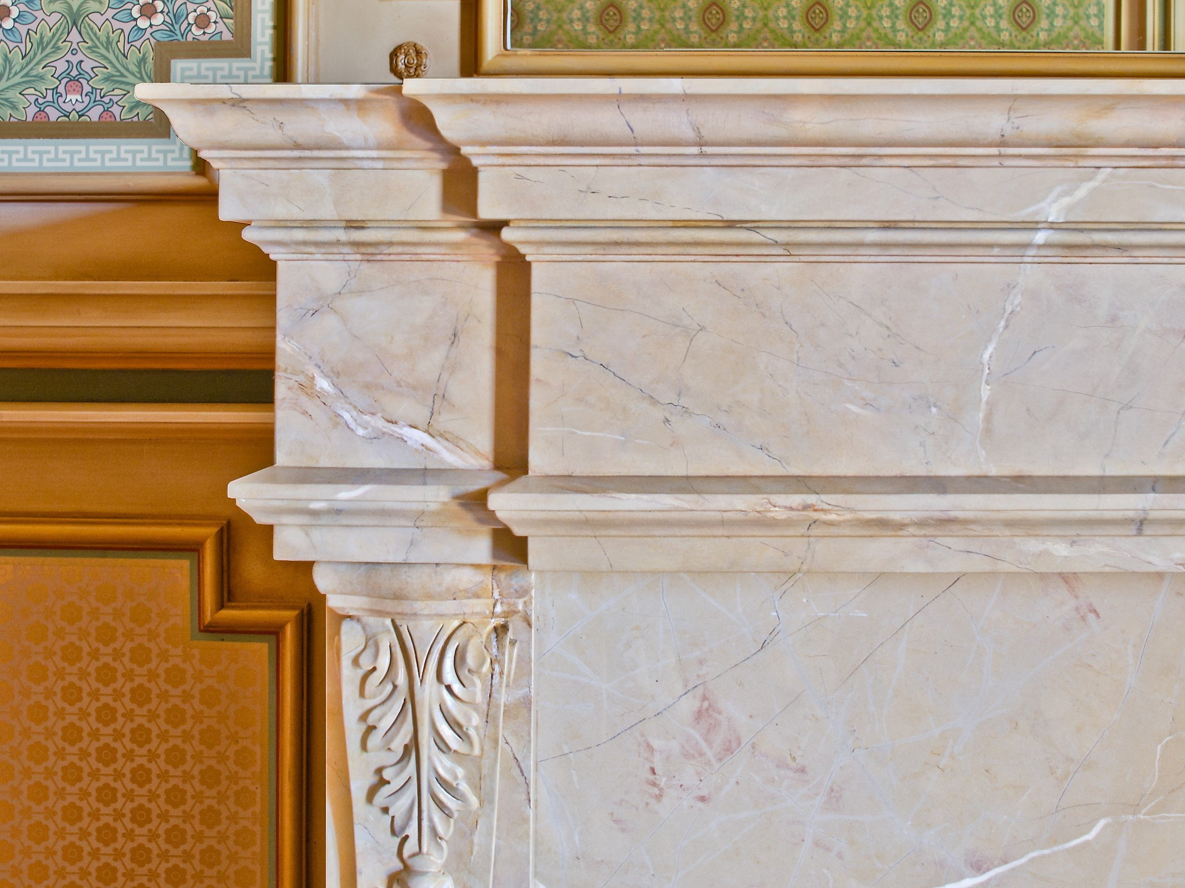 Faux Marble Fireplace Mantel Detail