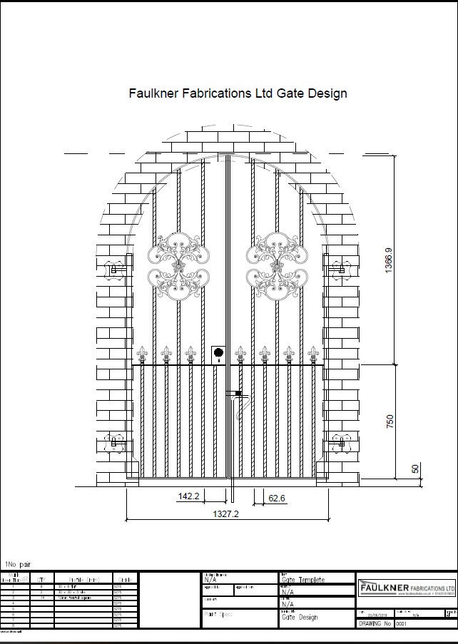 Gate designed in house on auto cad for a client to meet specification