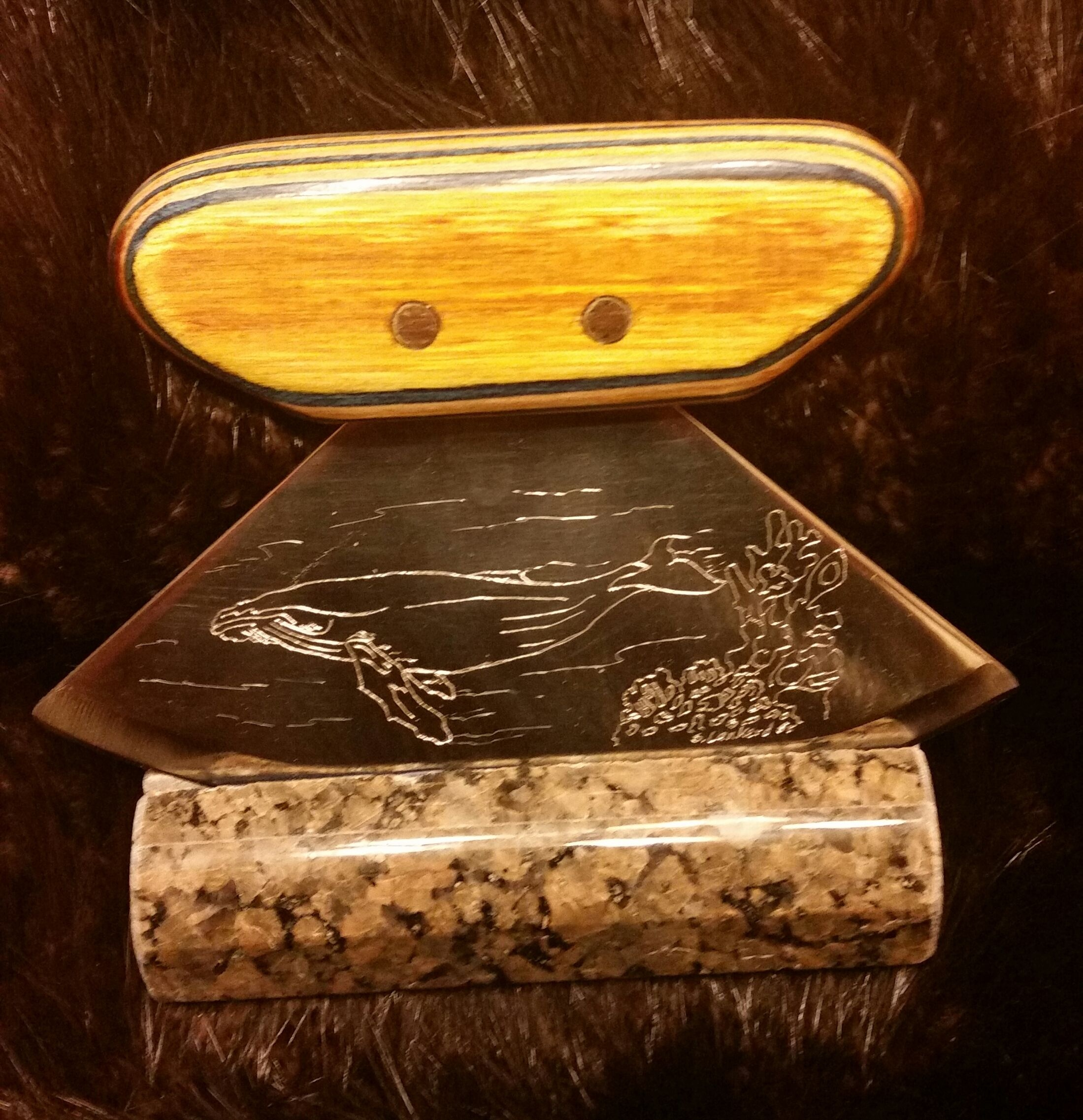 Humpback Whale Engraved Ulu with Dymondwood Handle and Granite base,   $110.00