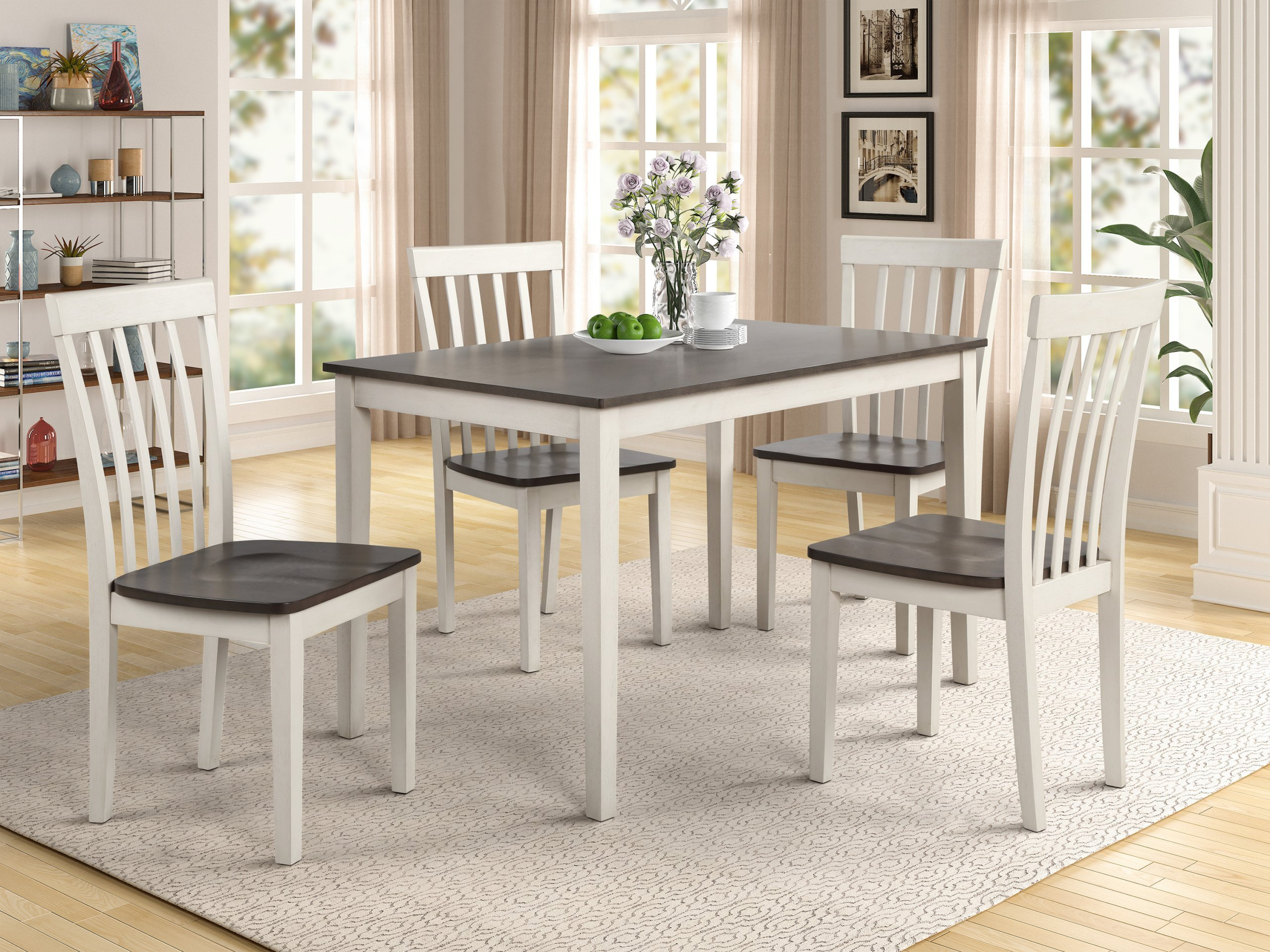 Brody White Dinette 2182SET-WH-GY