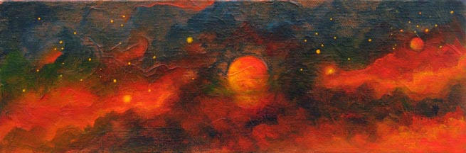 Cosmic Inferno 4x12 Acrylic on canvas