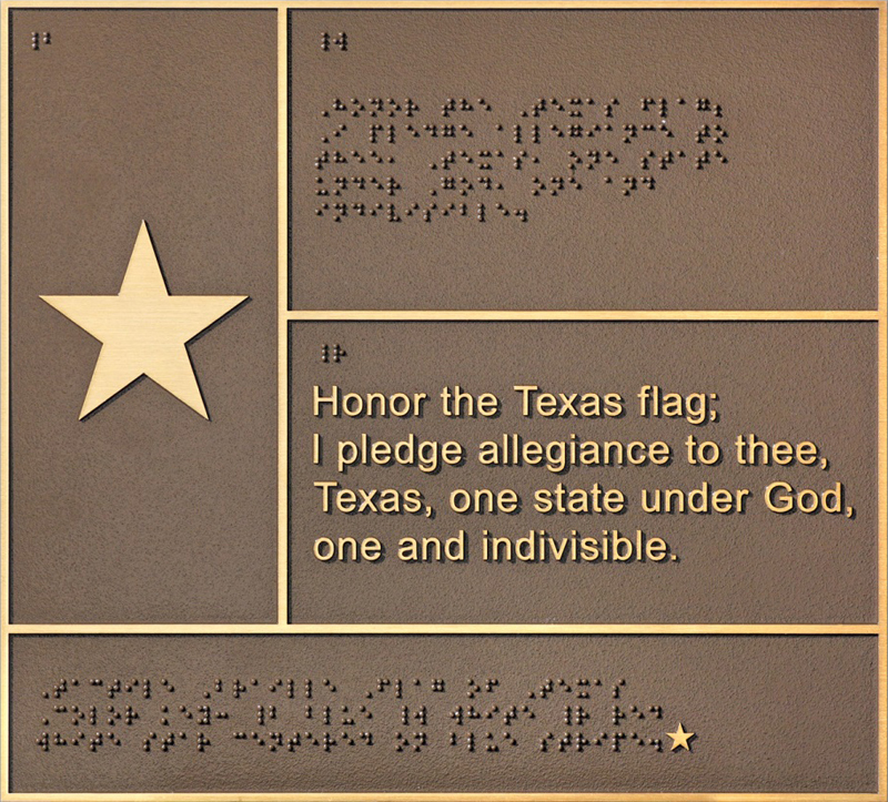 Flash Bronze Braille Flag of Texas ||||$250.00 click to enlarge