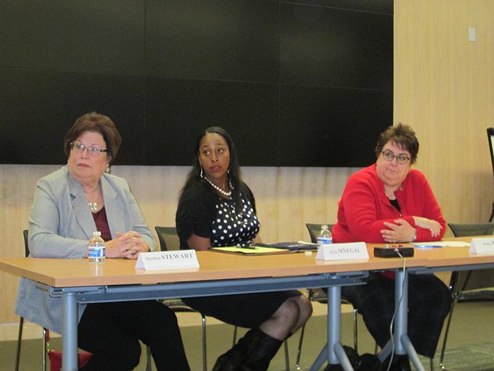 San Lorenzo school board candidates Marilyn Stewart, Kyla Sinegal and Penny Peck spoke at the forum.