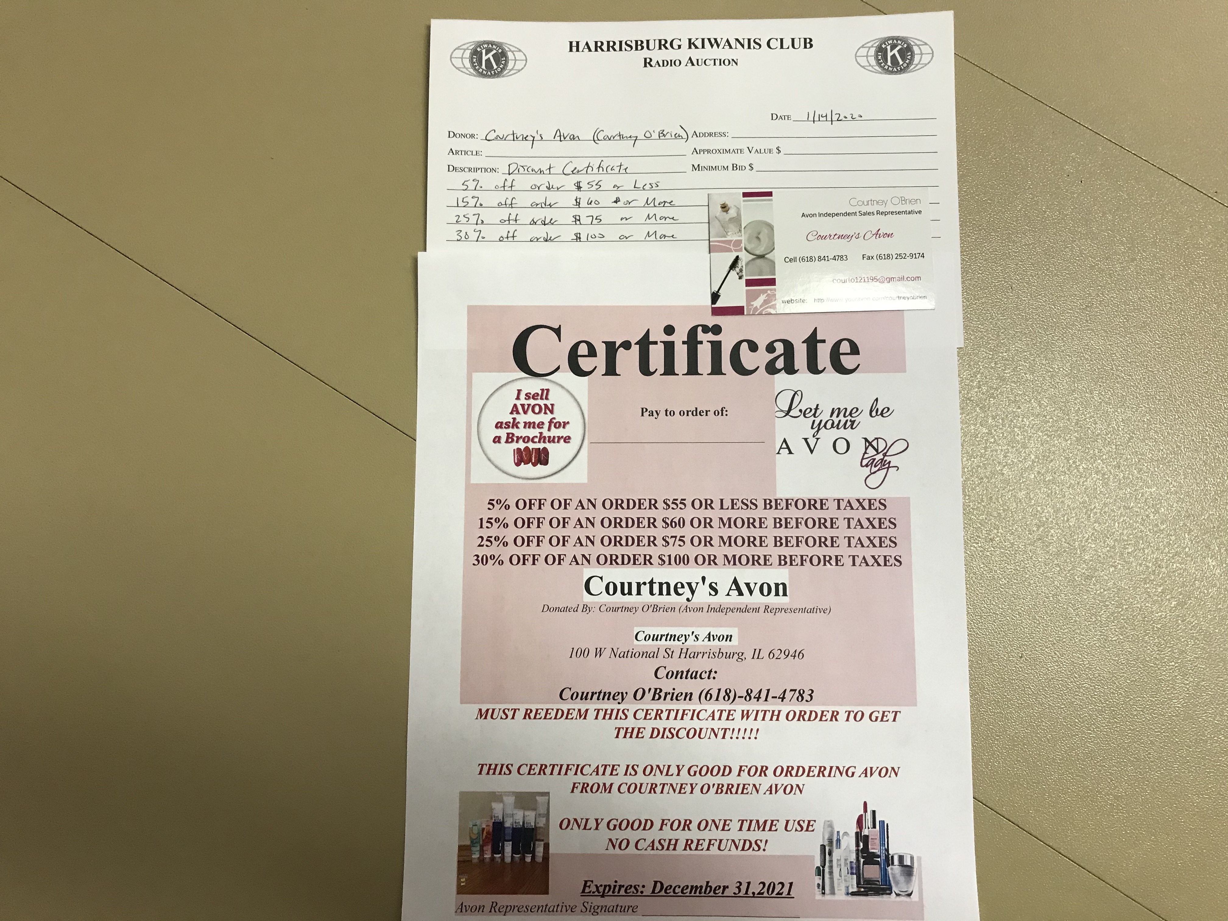 Item 322 - Courtney's Avon Discount Certificate