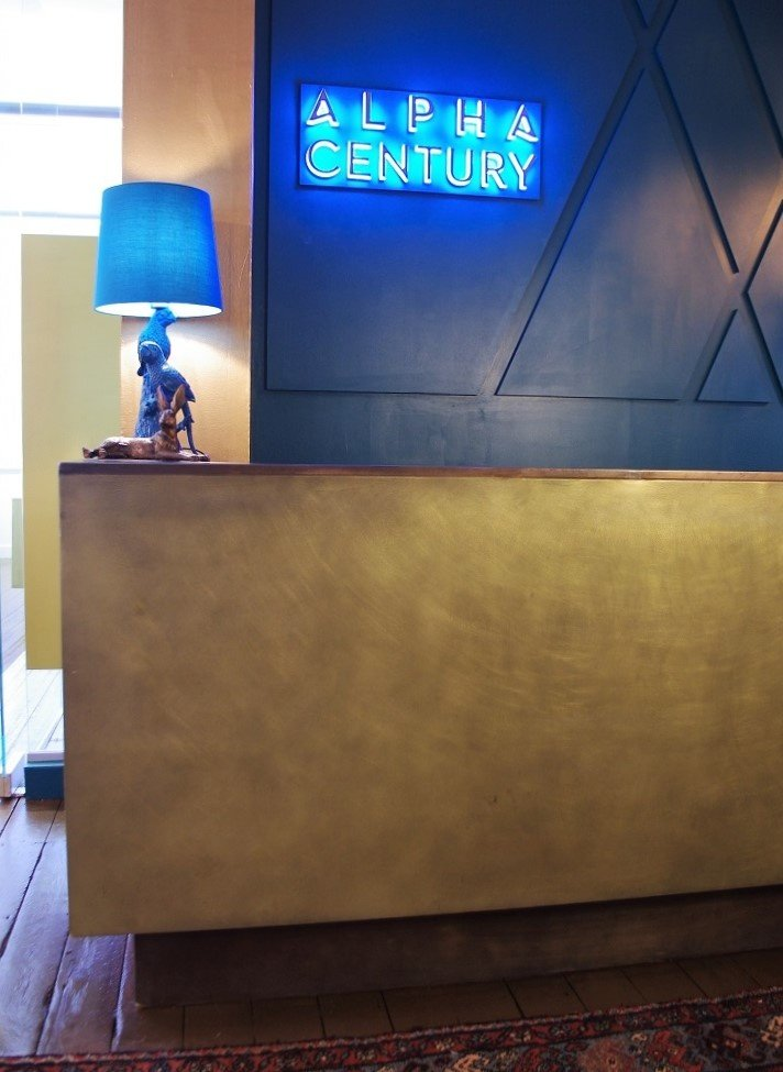 Metal coating projects - bronze reception desk