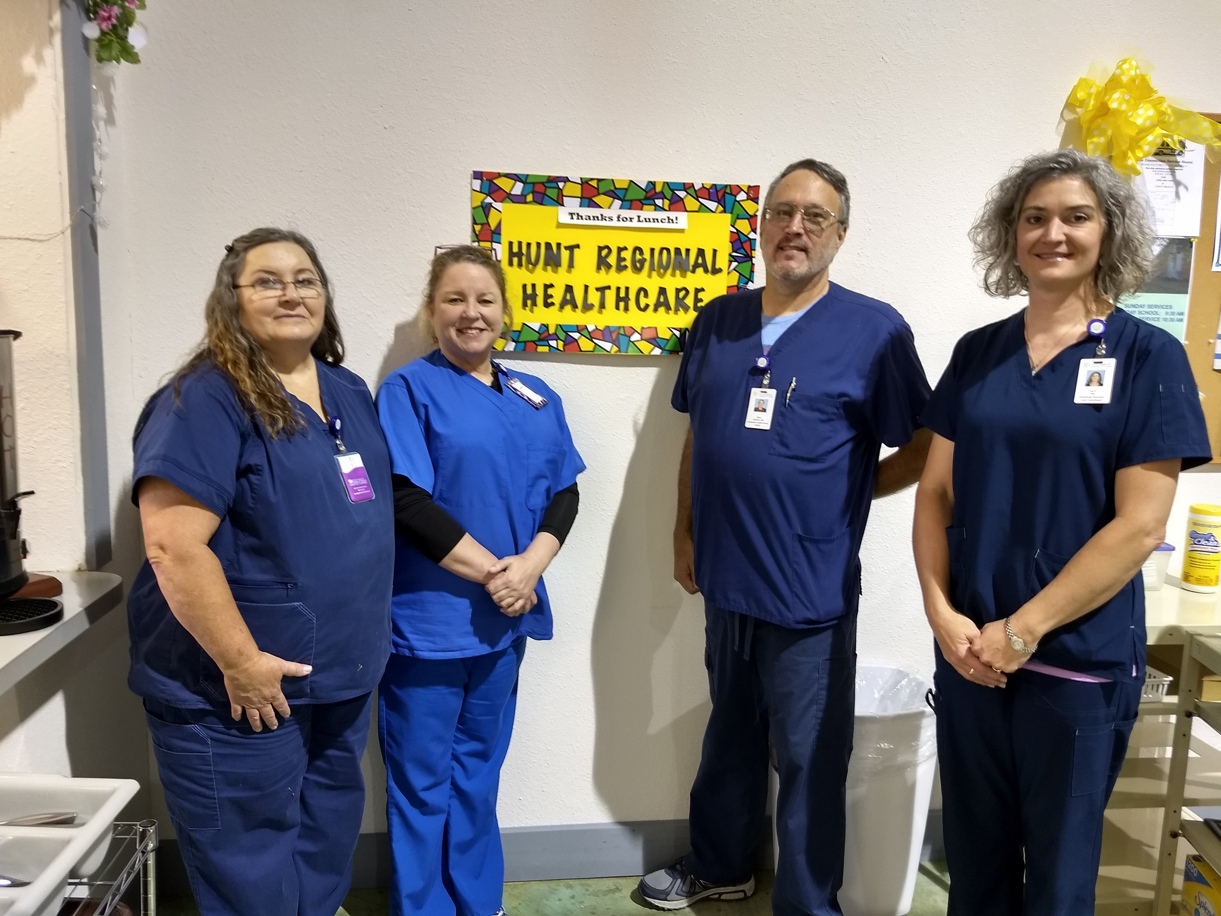Thank you to Hunt Regional Healthcare sponsor for the meal during the month of July!