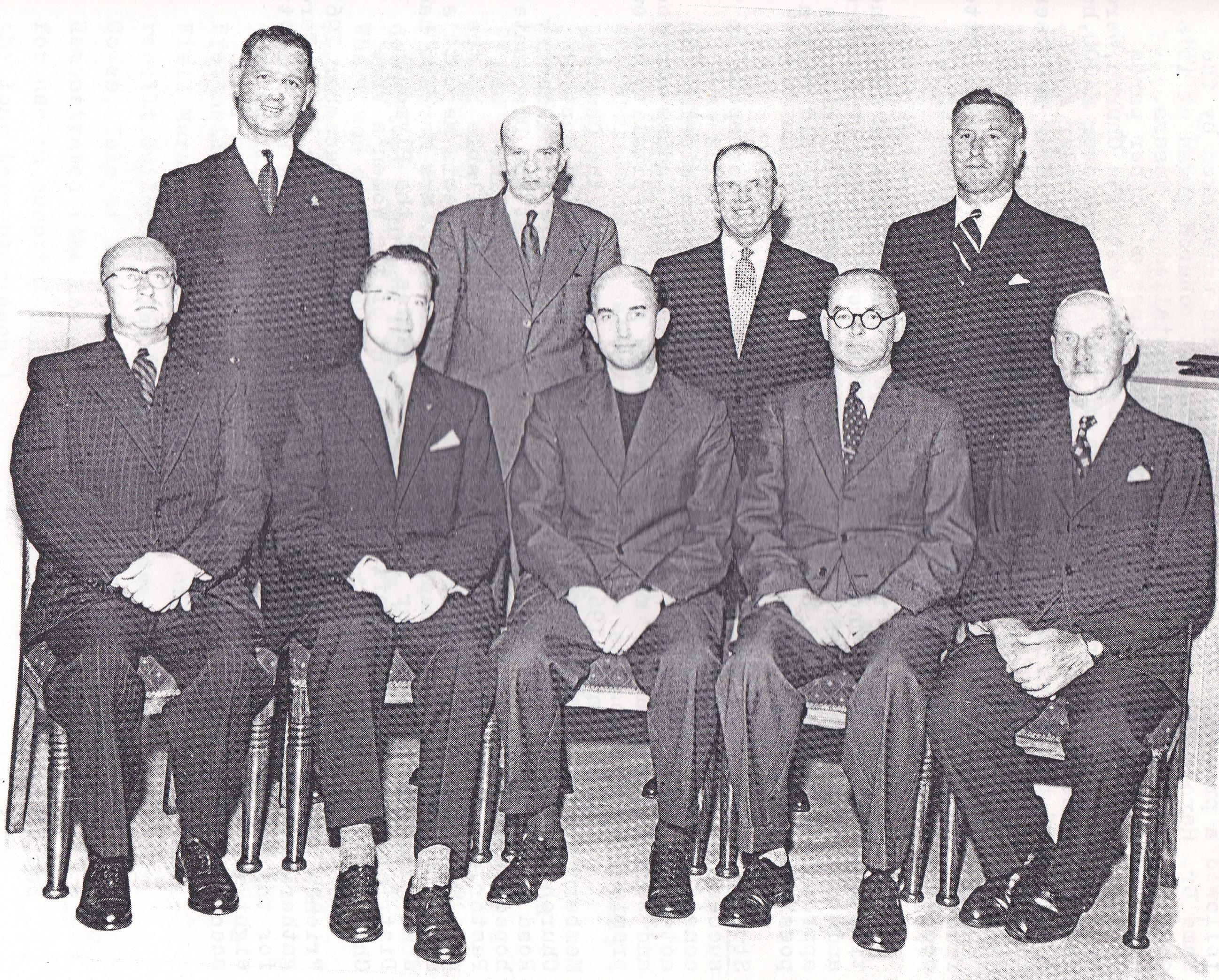 Rev Merrett and the Deacons, (Standing L - R) Mr Hellyer, Mr Keast, Mr H Bray, Mr Hitt, (Sitting L - R) Mr Rich, Mr R. Bray, Rev Merrett, Mr D Beavington and Mr F Beavington.  1958