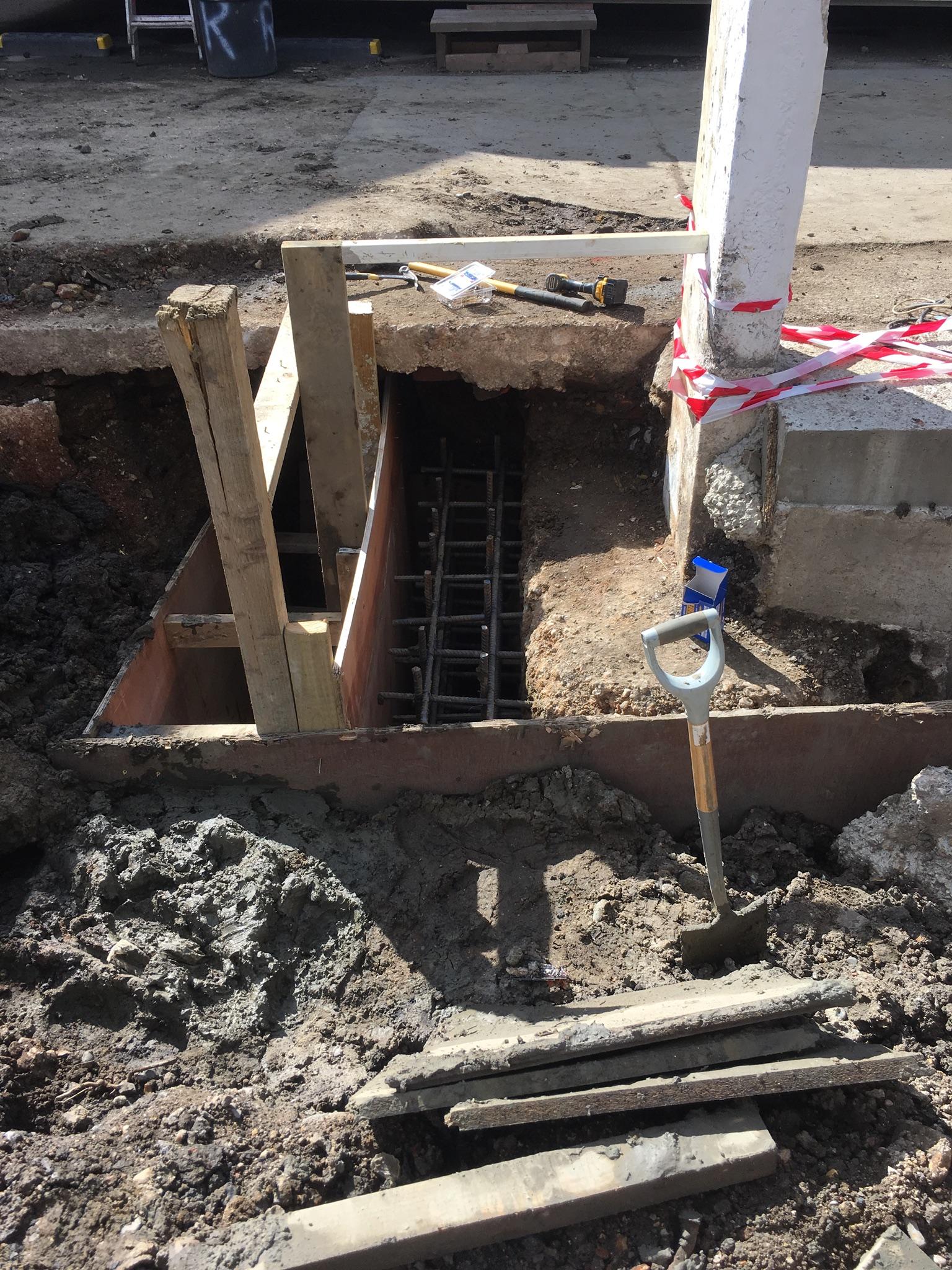 extra foundations to concrete frame
