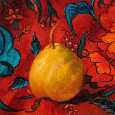 """Yellow Pear - 6""""x6"""" Oil on Panel SOLD"""