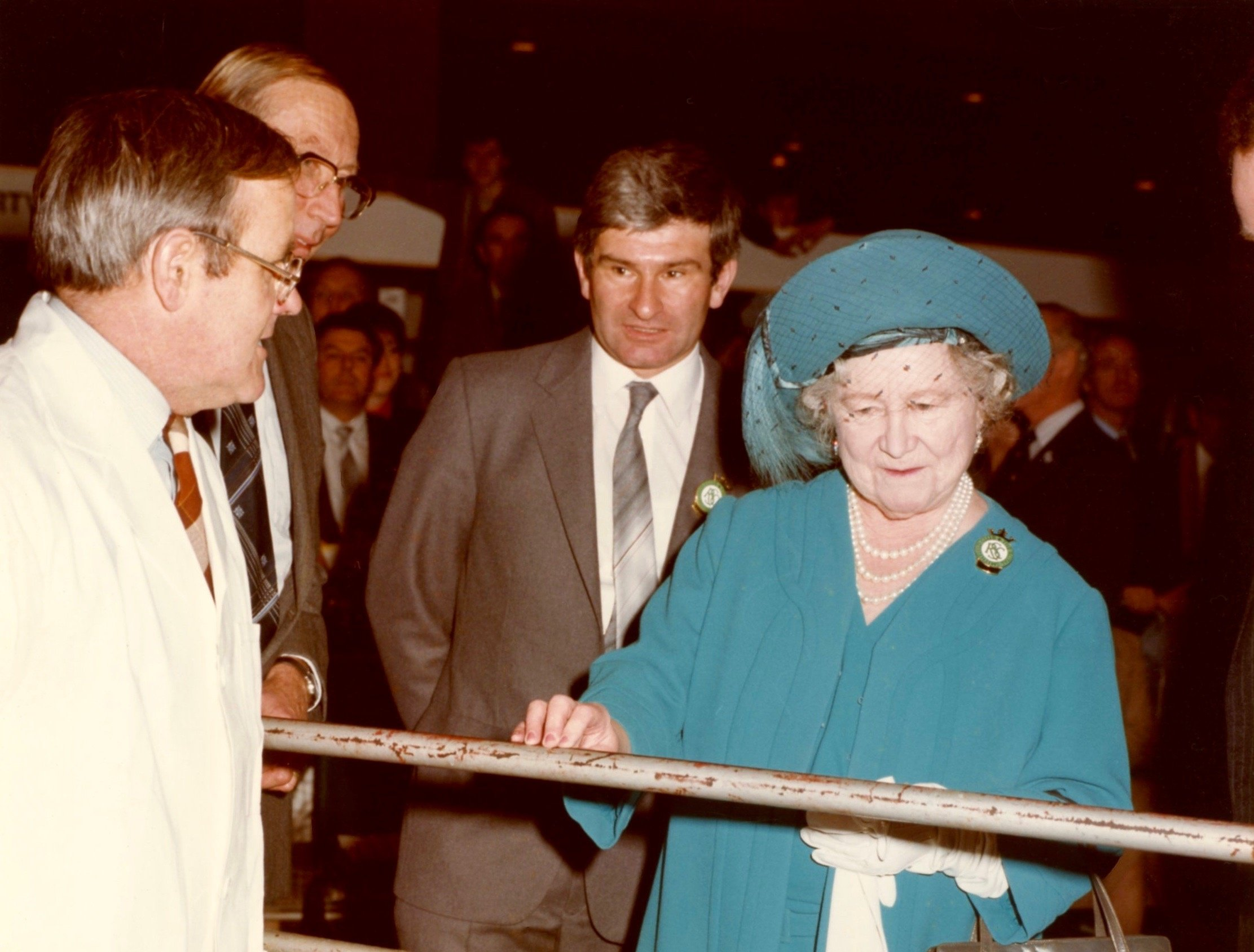 Reg Simpkin and Dick Gough with the Queen Mother at Earls Court in 1983
