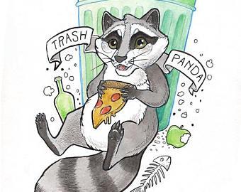 "Trash Panda Giclee 9"" X 12"" $45."