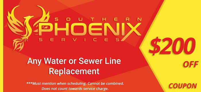 Coupon for $200 off any water or sewer line replacement.