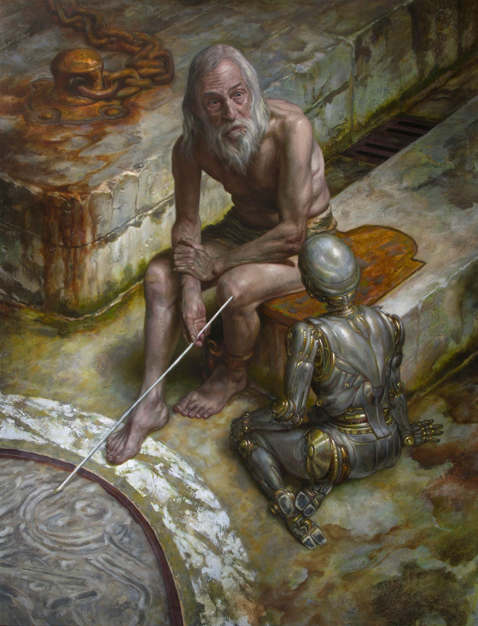 "Prometheus, A.I. 42"" x 32"" Oil on Panel 2015 original art available for purchase"