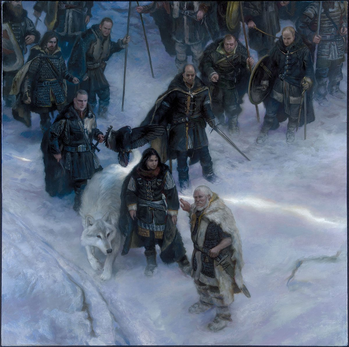"The Night's Watch - Jon Snow 30"" x 30""  oil on Panel  2014 Collection of George R.R. Martin"